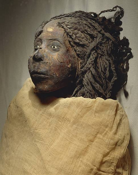 Mummy of Queen Nedjemet, wife of Herihor, face detail –