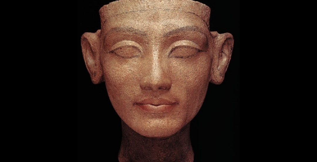 Nefertiti face black background