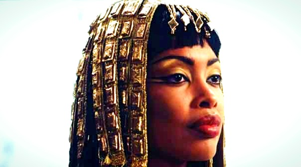 African Queen of Egypt Cleopatra wearing makeup and signature red lipstick