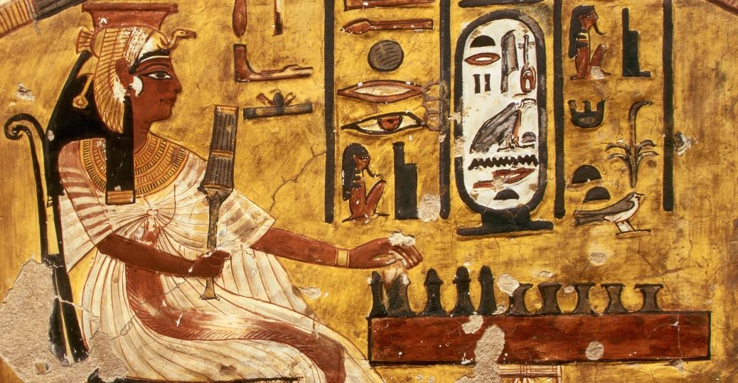 Painting of Queen Nefertari playing a game, c. 1320-1200 BCE.