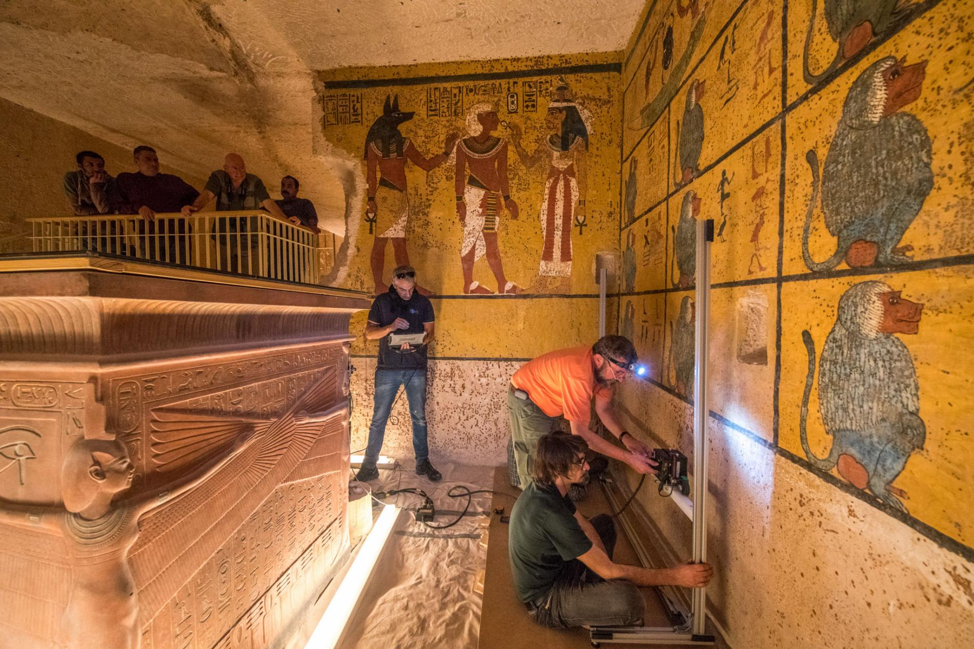 spaces behind the walls of the tomb of King Tut