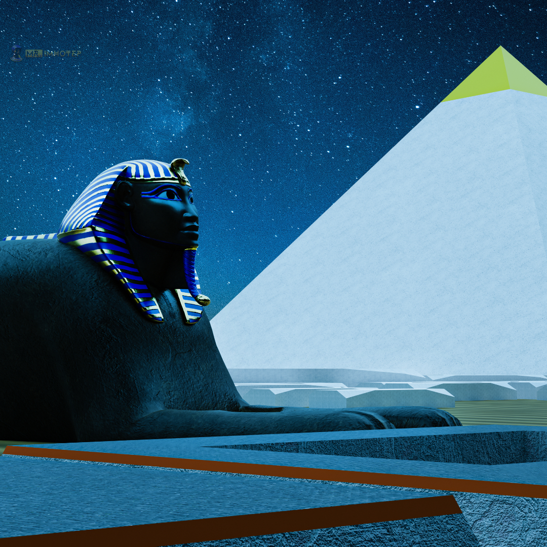 Sphinx 3D Side view Pyramid Night